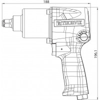 "AIW1261 Гайковерт пневматический 1/2"" 7000 об/мин 610 Nm"