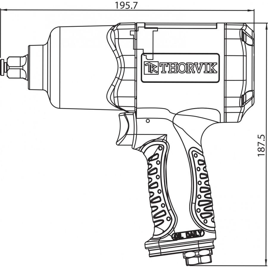 """AIW1268 Thorvik AIW1268 Гайковерт пневматический 1/2"""" 7500 об/мин 680 Nm"""