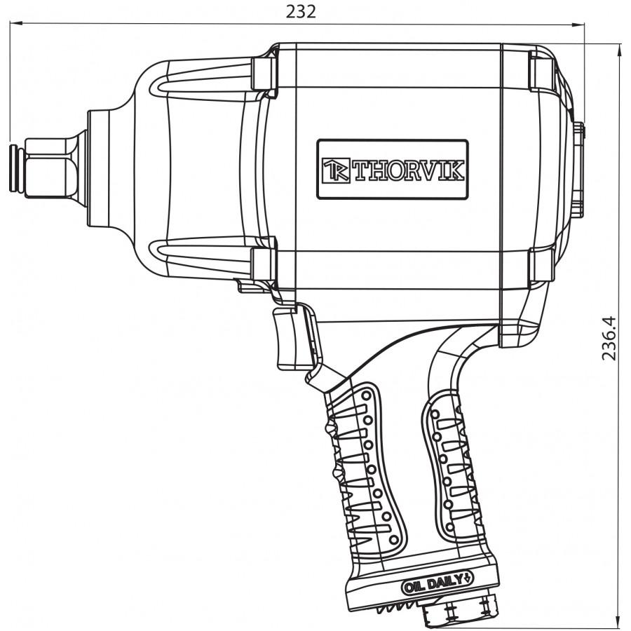 """AIW3416 Thorvik AIW3416 Гайковерт пневматический 3/4"""" 4000об/мин 1600 Nm"""